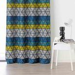 Rideau géométrique bleu et jaune Gabin 135x270 cm