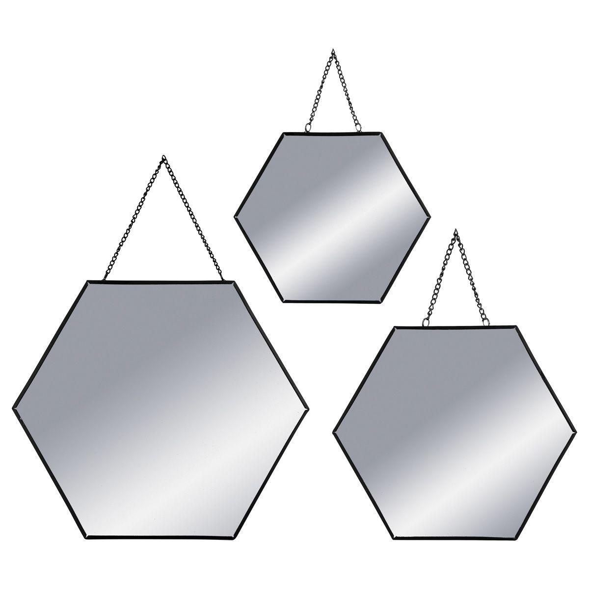 Lot 3 miroirs hexagones métal noir