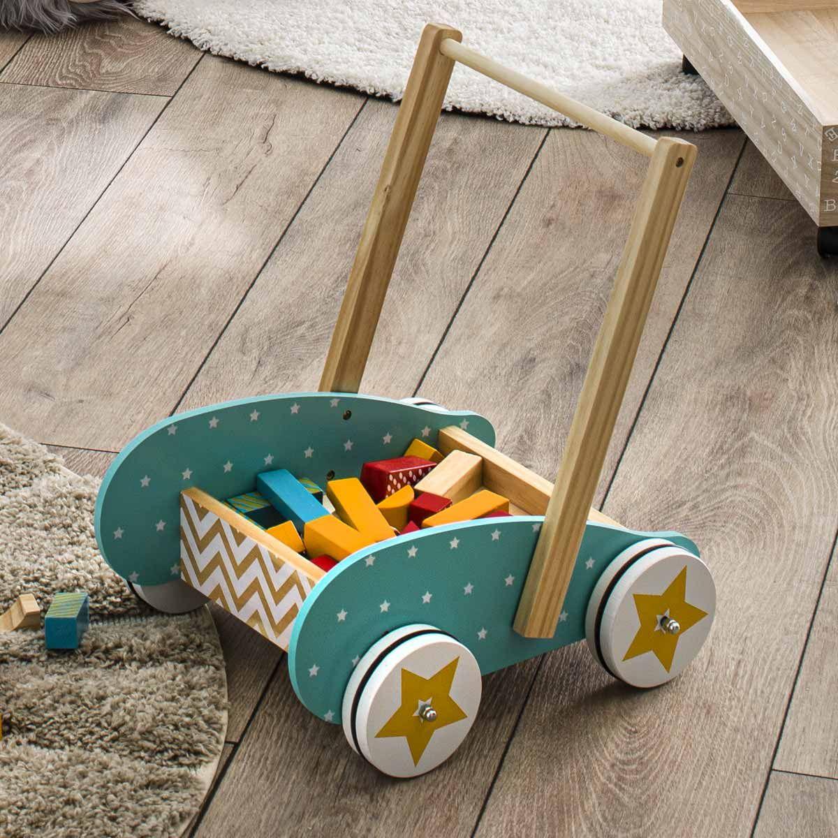 Chariot de marche pour enfant avec blocs de construction