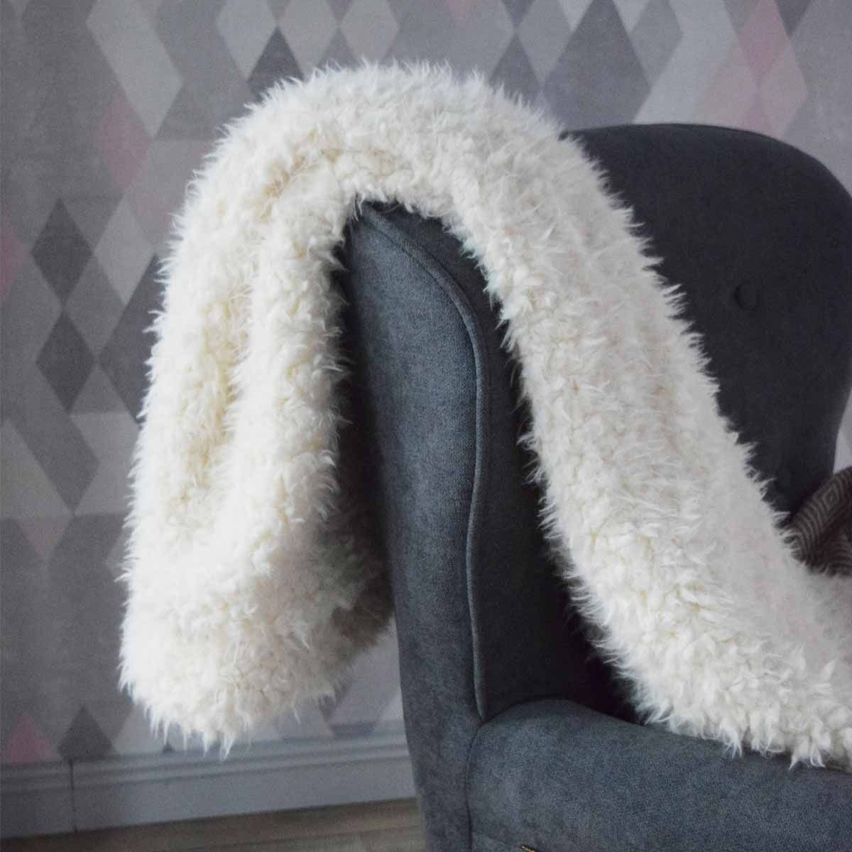 Plaid fausse fourrure blanche Mouton 130x160 cm