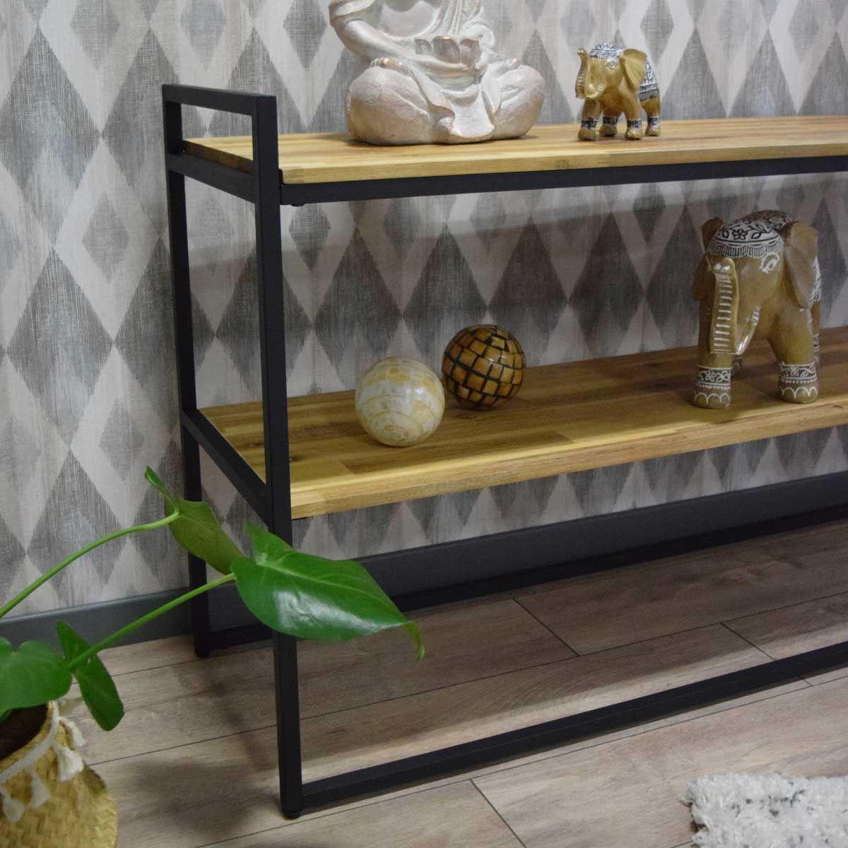 Console vintage en bois noire Edena