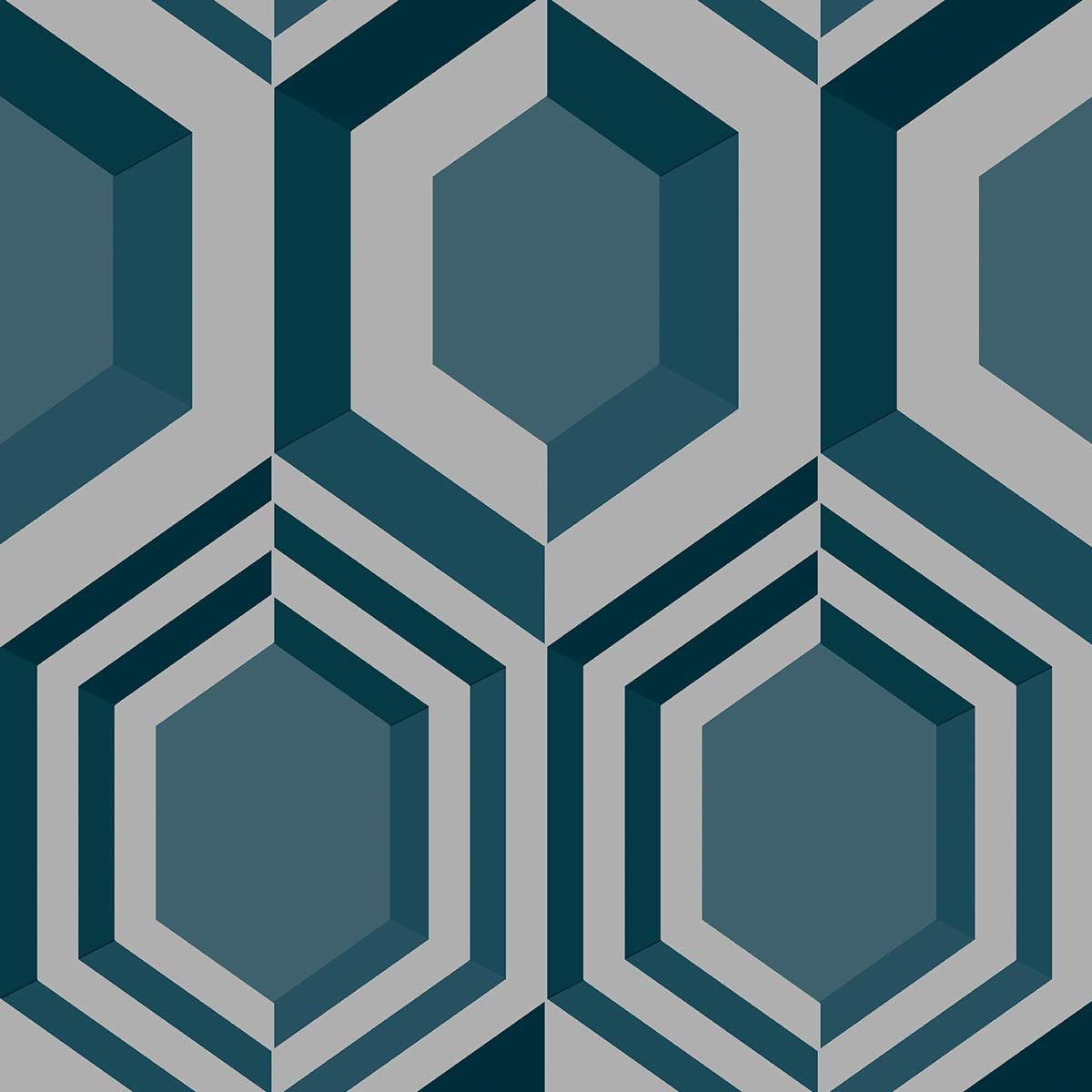 Papier peint vinyl intissé géométrique bleu pétrole Dingle