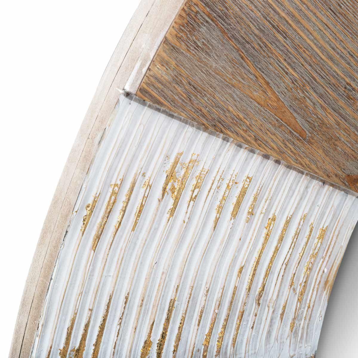 Miroir rond en bois bicolore