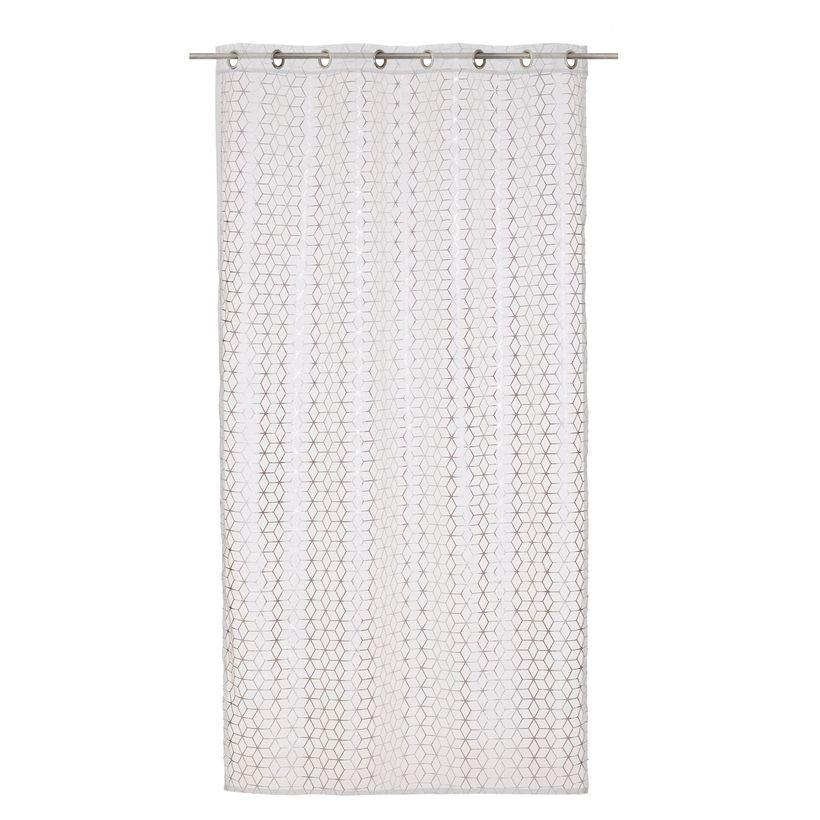 rideau scandinave argent blanc varadero 135x240 cm kalico. Black Bedroom Furniture Sets. Home Design Ideas