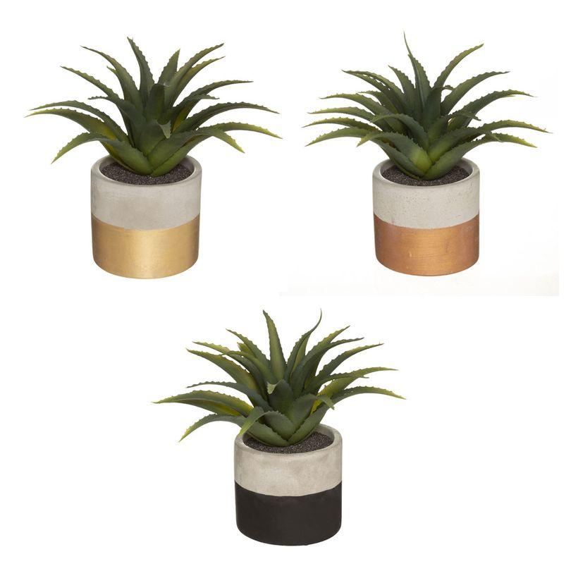 Plante artificielle Aloé Vera pot en ciment H. 28 cm