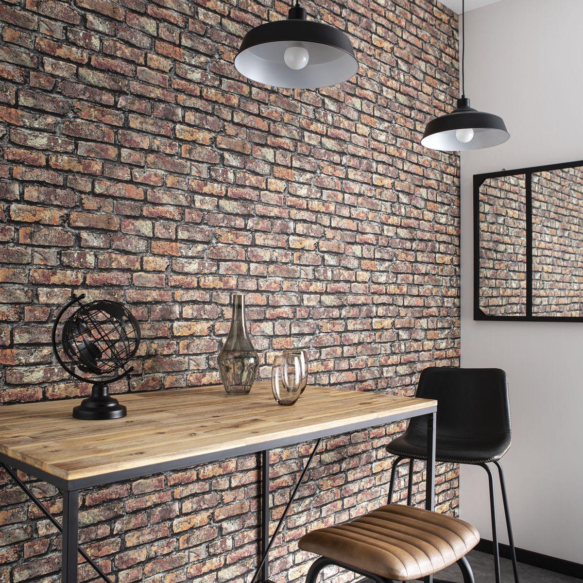 Papier peint vinyl intissé brique noir terracotta Salisburry