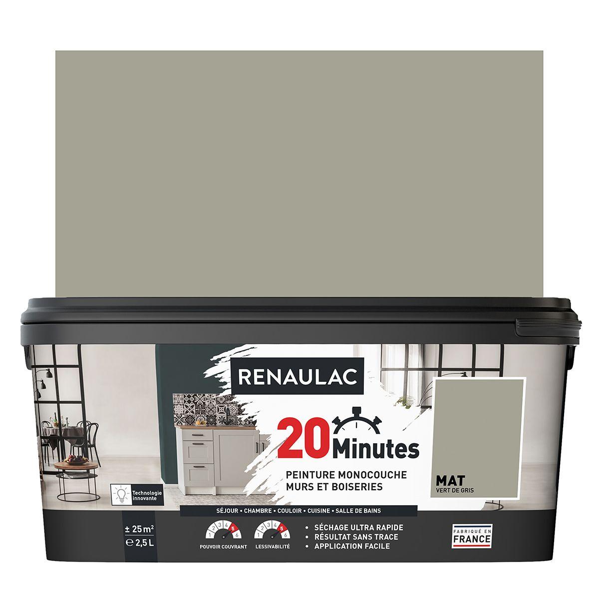 Peinture vert de gris mat 20 minutes chrono Renaulac