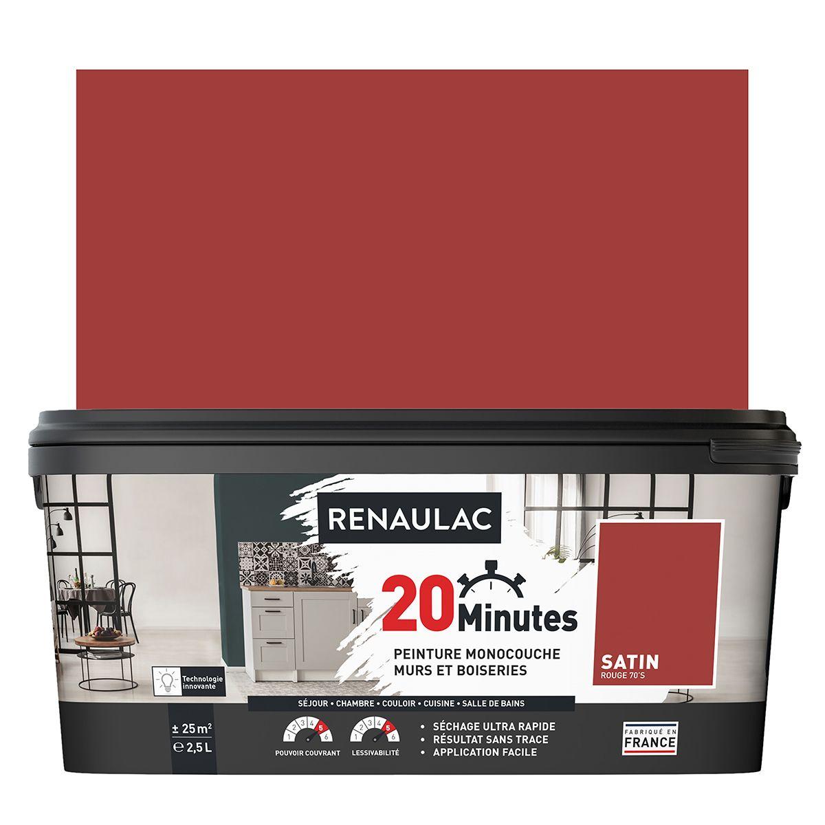 Peinture rouge 70's satin 20 minutes chrono Renaulac