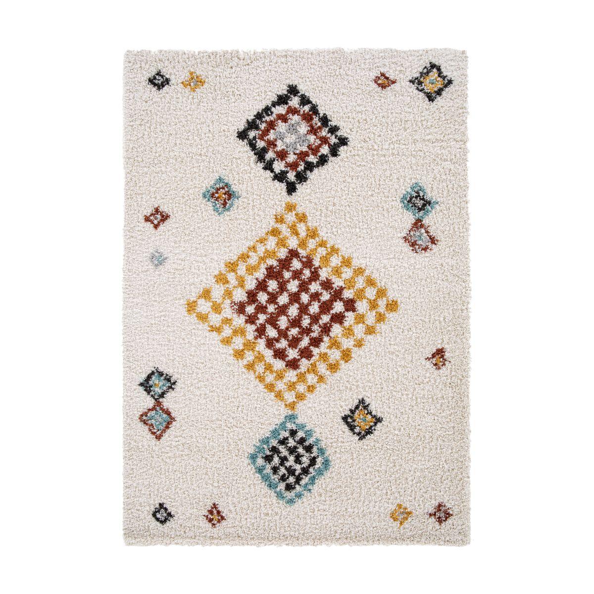 Tapis motif aztèque multico fond ivoire Vinicunca