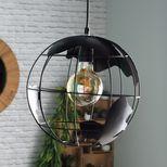Suspension filaire ronde mappemonde noire