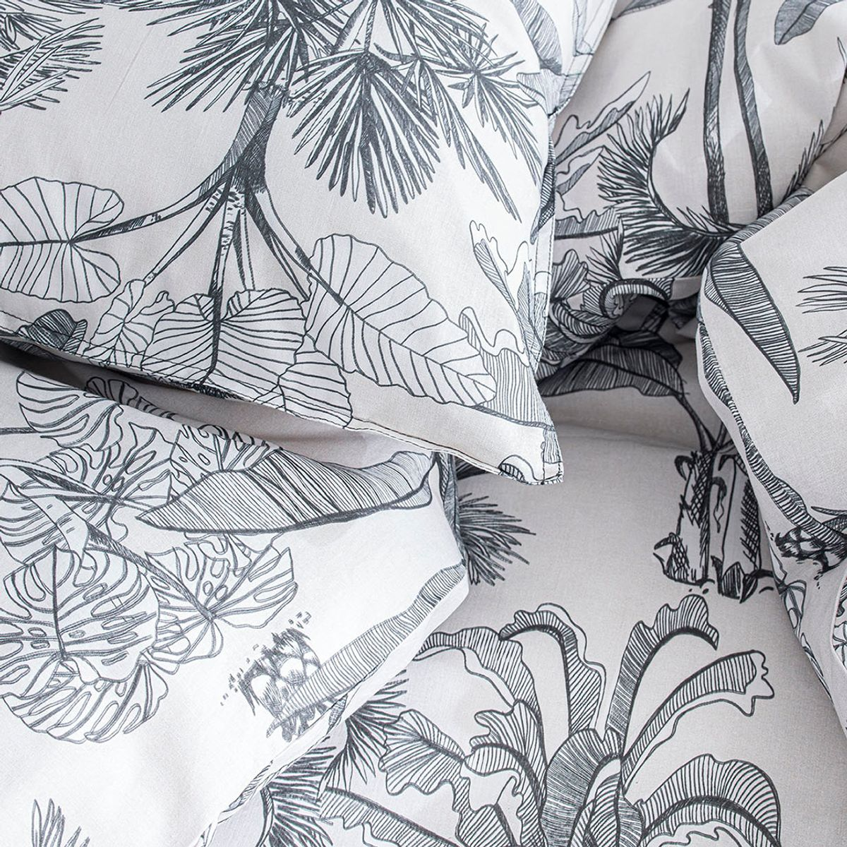 Housse de couette + taies tropicale N&B 220x240 cm
