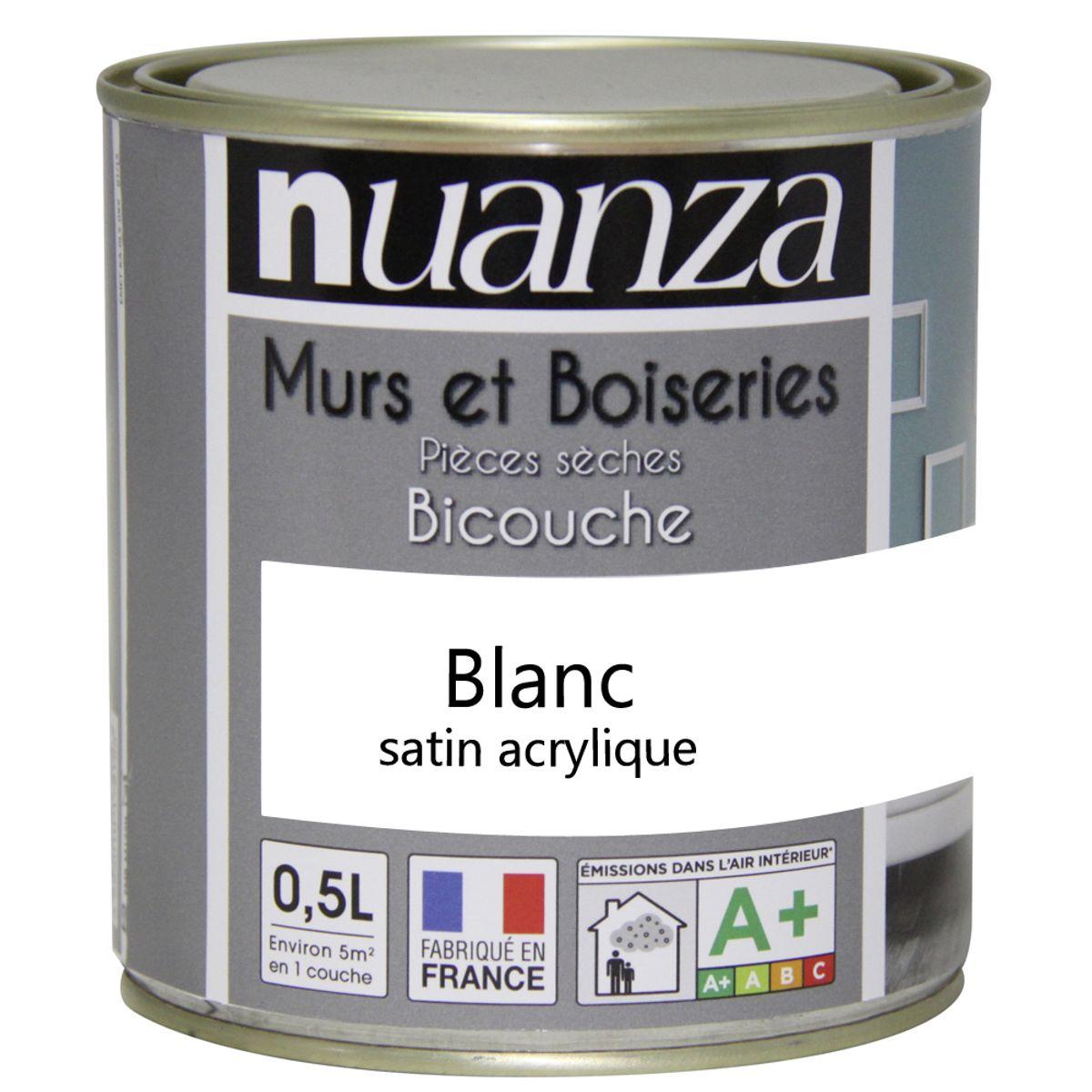 Peinture blanc satin murs et boiseries Nuanza 0.5l