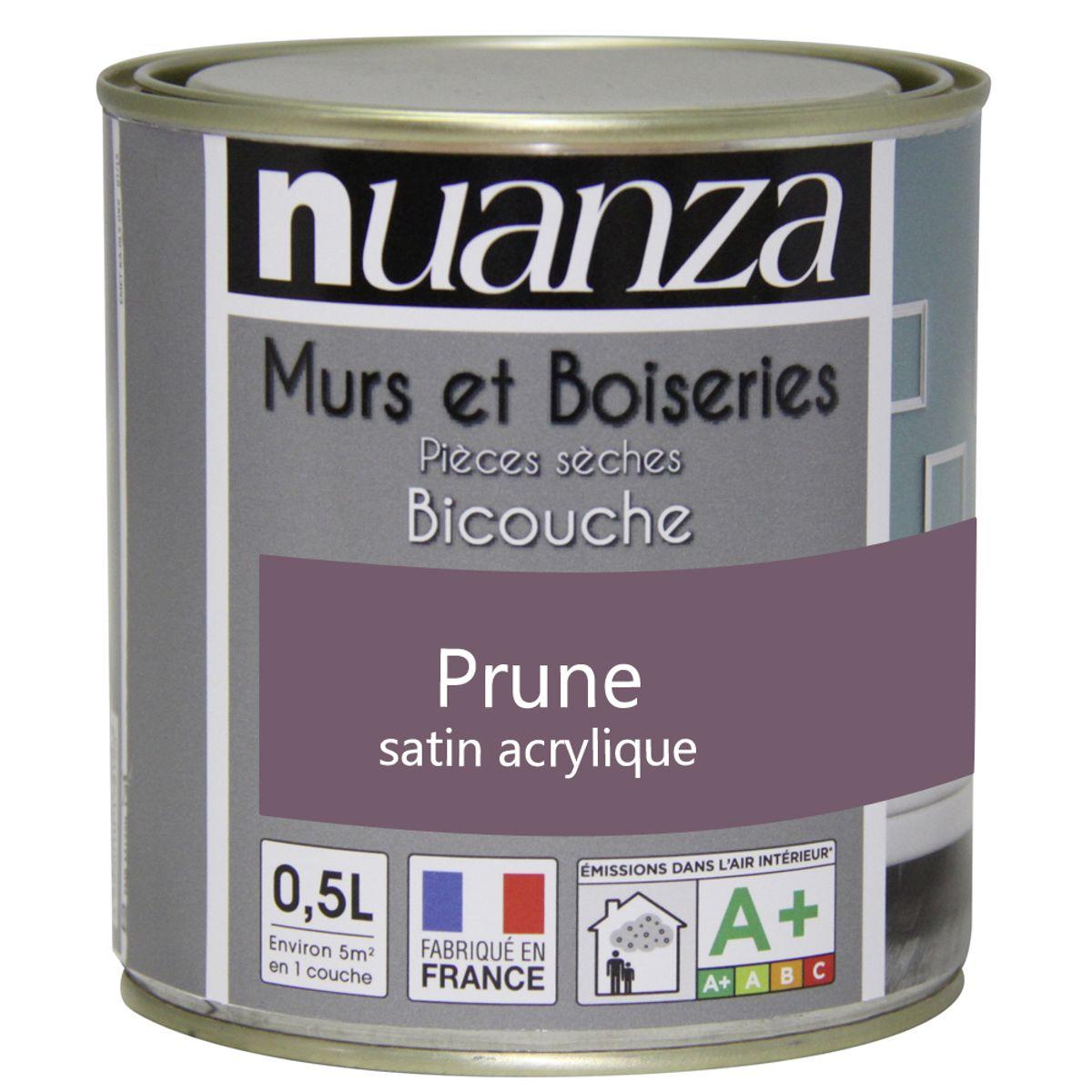Peinture prune satin murs et boiseries Nuanza 0.5l