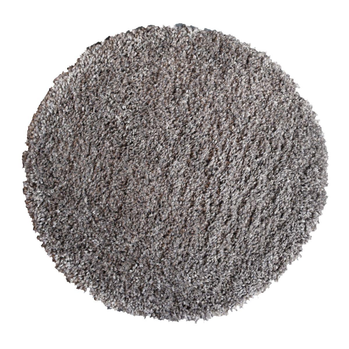 Tapis rond shaggy gris aluminium Softy 60 cm