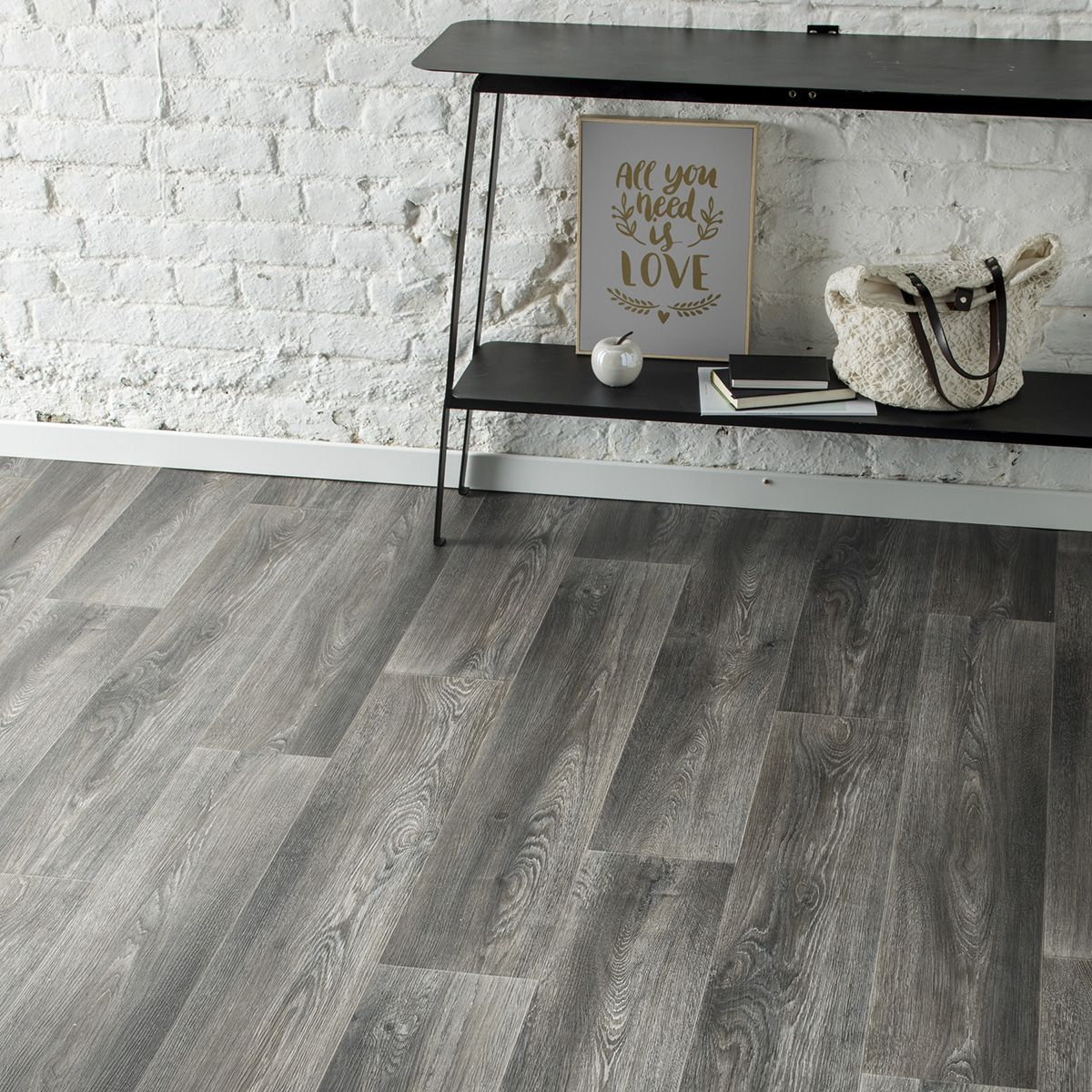 Sol vinyle lame gris brun Gubbio 400cm