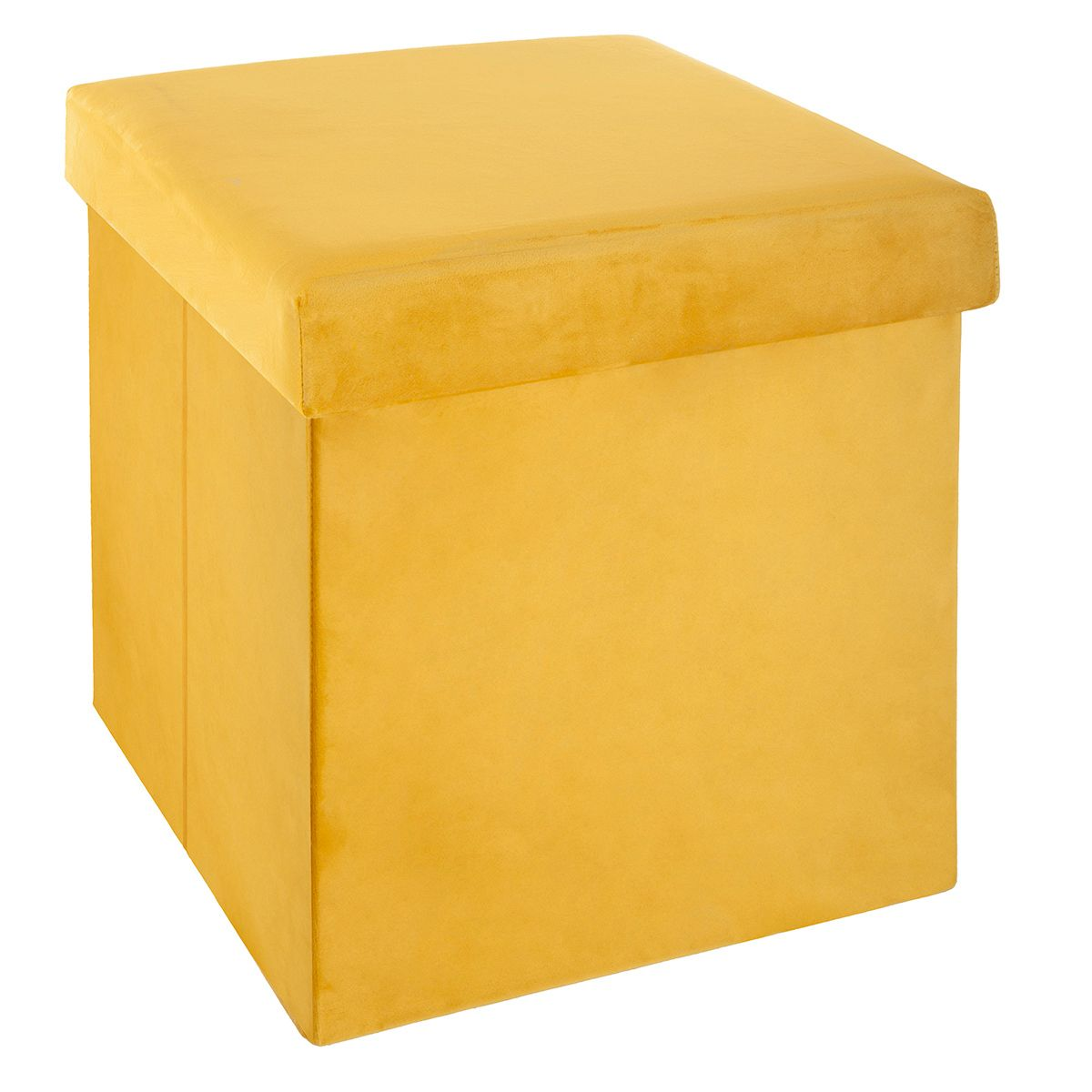 Pouf rangement velours moutarde