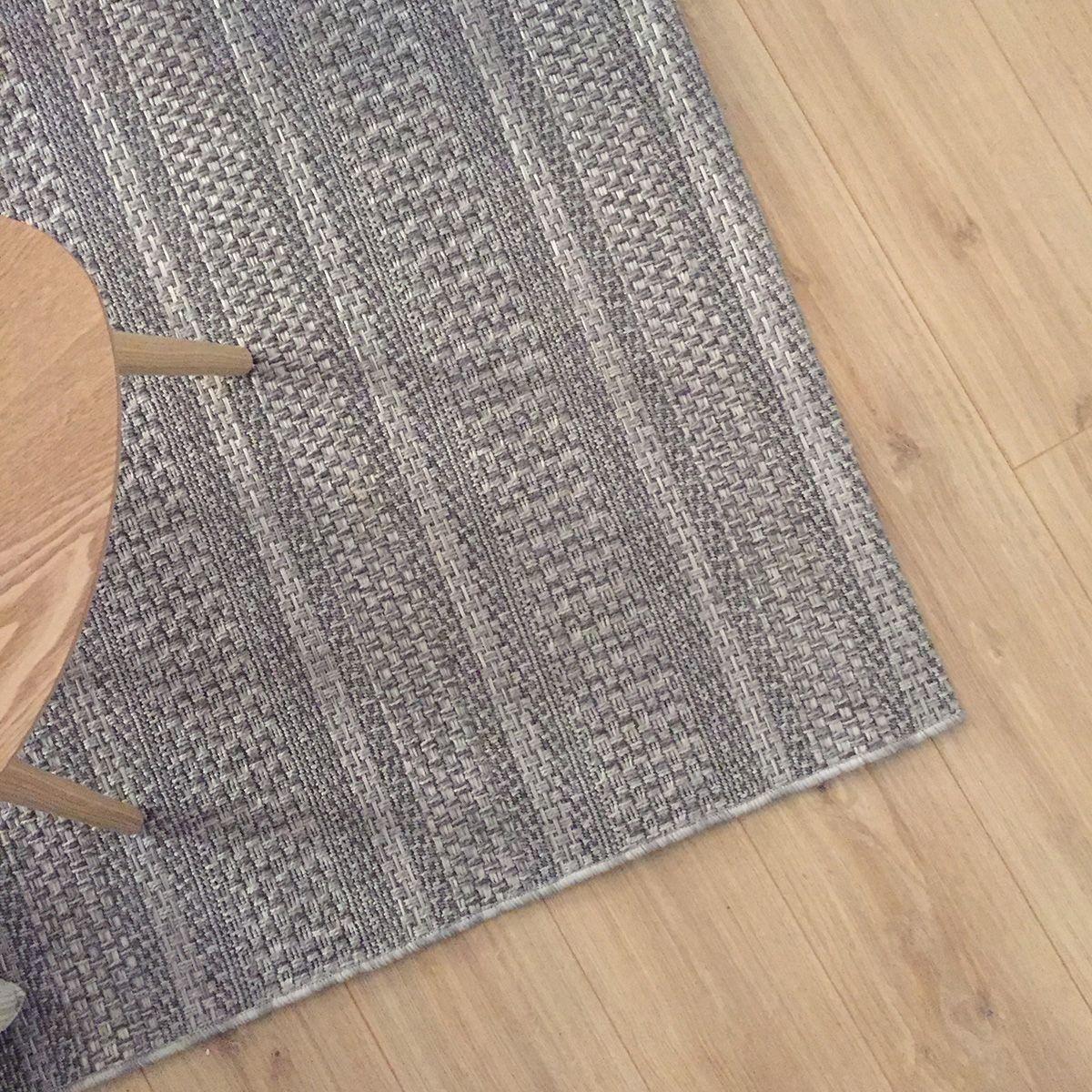 Tapis tissé plat bande grise Baldi 120x170 cm