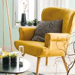 Fauteuil jaune moutarde Pinto