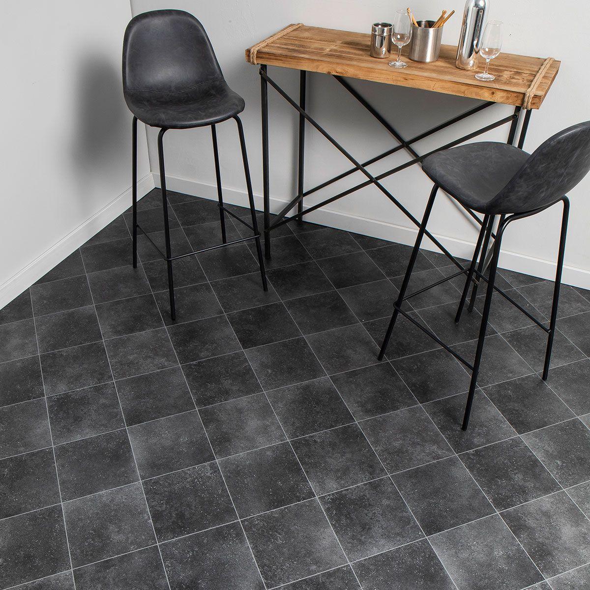 Sol vinyle carreaux noir effet métal Baciano 400cm