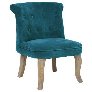 Mini fauteuil bleu canard velours Calixte   Déco   KALICO