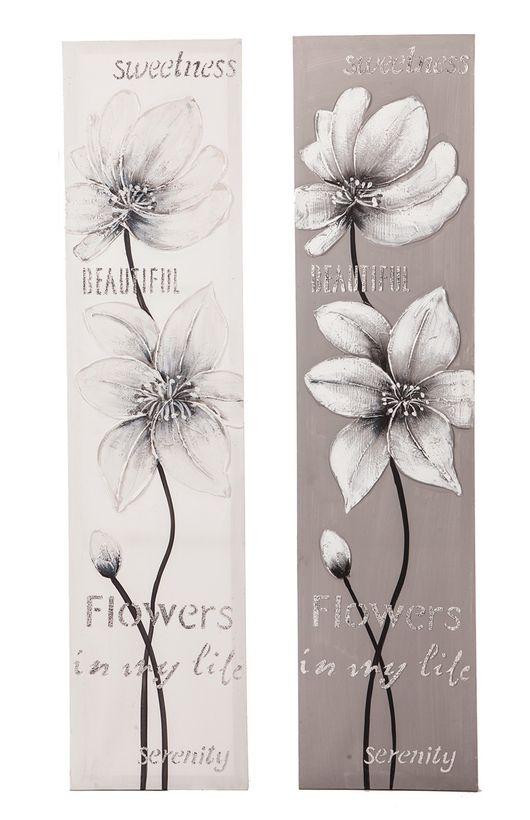 Toile peint main fleur naturel