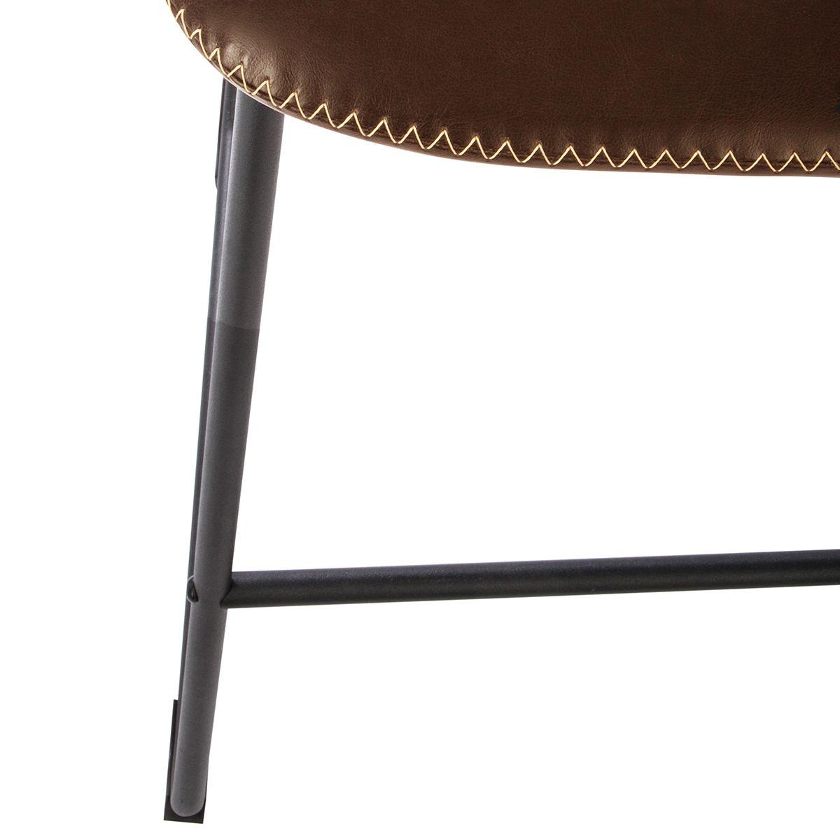 Chaise de bar confortable surpiqué marron