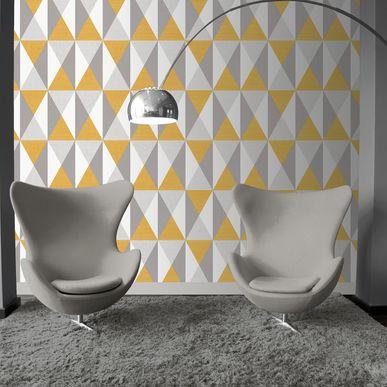 Papier Peint Geometrique Gris Jaune Bachau Intisse Kalico