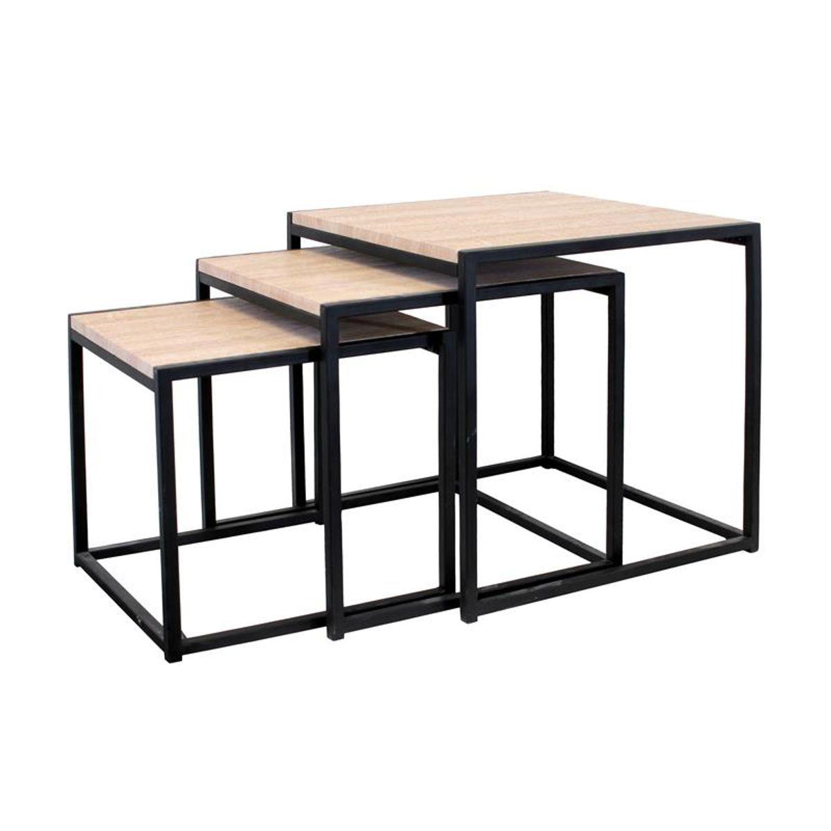 Lot de 3 tables gigognes noir et bois