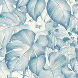 Papier peint jungle bleu fond blanc Corris vinyl intissé